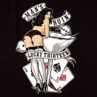 Lucky 13 Mans Ruin Vegas Pin Up Girls T Shirt NEW Clothing