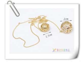 Korean Fashion Gold Color Two Ball Crystal Necklace x128 great gift