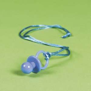 12 Baby Boy Blue Pacifier Necklace Shower Party Favors: Home & Kitchen