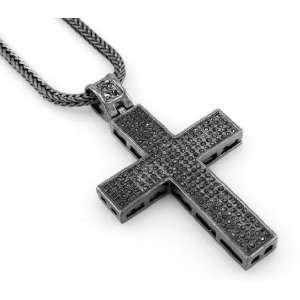 Hip Hop Bling Hematite Black Ionic Jesus Cross Pendant