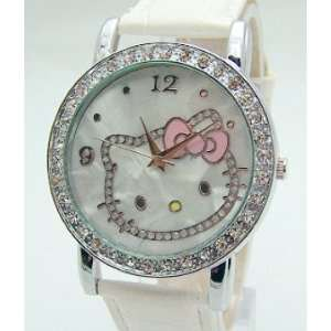 Hello Kitty Crystal Bling White Leather Band WristWatch