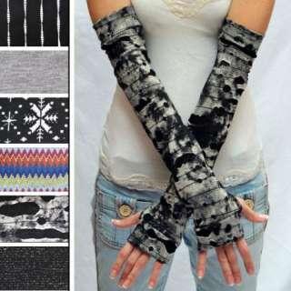 Extra Long Arm Warmers Mummy Gloves Thumb Hole Shirt Black Grey Gray
