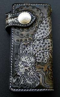 JAPANESE DRAGON TATTOO GENUINE LEATHER LONG WALLET