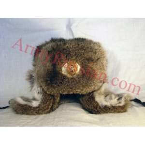 USSR Military NATURAL Fur Trapper Ear Flaps Hat (61 XL) Toys & Games