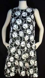 Vintage 60s MOD Trapeze Style Dress ~ Brown & White CIRCLE Print