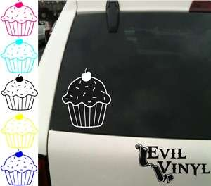 Cute Cherry Cupcake Car Truck Decal Sticker ANY COLOR