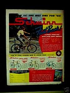 Schwinn Sting Ray Bike Fastback 1966 Racer Bicycles AD