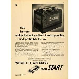 1935 Ad Electric Storage Battery Company Exide Car Battery
