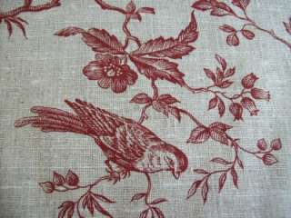 Auvergne Red Grey LINEN French designer fabric birds