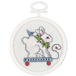 Rabbit Pull Toy Mini Counted Cross Stitch Kit Arts