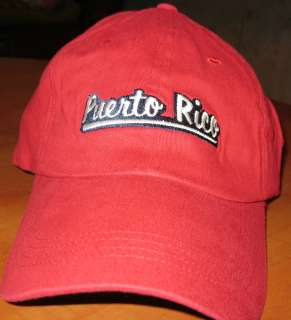 PUERTO RICO RED FLEX FITTED SLOUCH BASEBALL CAP HAT NEW