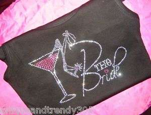 Bachelorette Party Bride Martini Glass Rhinestone Shirt