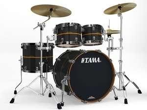 Tama Starclassic Bubinga Elite 4p Drum Set, Black Metal+Gold Inlay