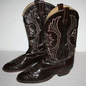 Tony Lama Vintage Black Label Mens Boots size 11 Brown Leather Cowboy