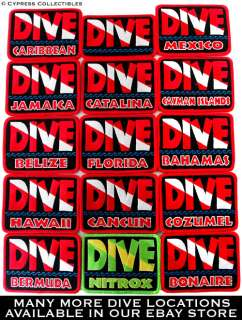 DIVE BAHAMAS   EMBROIDERED PATCH SCUBA DIVING FLAG LOGO