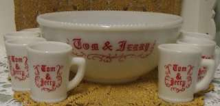 Punch Bowl Set McKee Milkglass Tom+Jerry Punch Bowl+Mugs Vintage