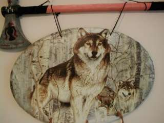 NATIVE AMERICAN INDIAN TOMAHAWK PLUS WOLF WALL HANGING