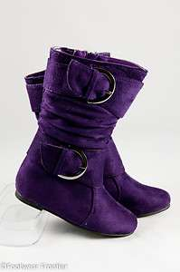 Toddlers Fashion Slouchy Buckles Faux Suede Flat Boots DT80FPRP