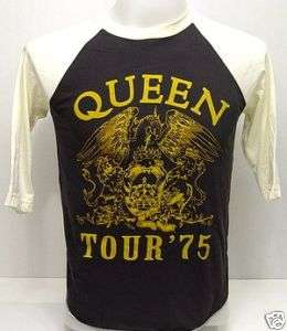 QUEEN Freddie 1975 Tour VTG Rock 3/4 Jersey T Shirt M