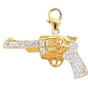 14K Yellow Gold Diamond Pistol Charm: Jewelry