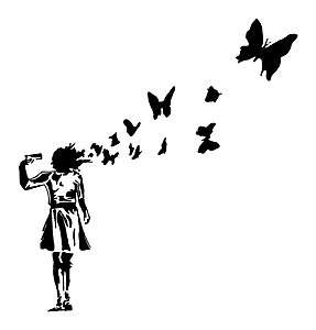 Banksy Inspired Butterflies Vinyl Sticker Decal