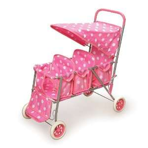 Best Quality Pink w/White Polka Dots Triple Doll Stroller