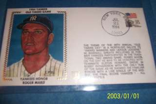 New York Yankees ROGER MARIS Old Timers Day SILK Cachet