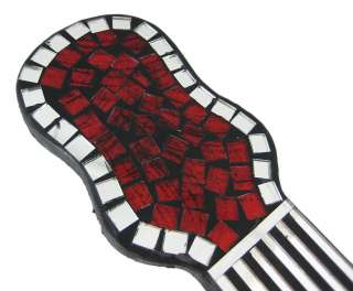 MOSAIC GLASS GUITAR WALL HANGING   RED
