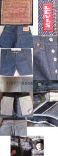 Levis big E red tab 501 button fly heavy dark blue denim jeans / pants
