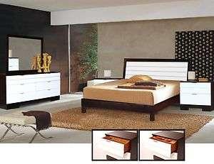 Contemporary 5 pc Queen/Full Bedroom Set White/Merlot
