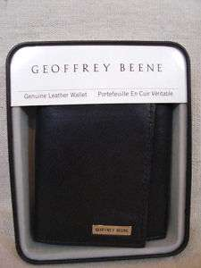 Geoffrey Beene Mens Black Leather Trifold Wallet