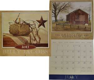 2013 BILLY JACOBS WALL CALENDAR Primitive Rustic Americana Country