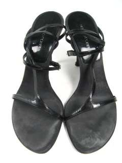 SERGIO ROSSI Black Patent Sandals Pumps Heels Size 38