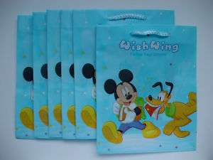 Colourful Mickey Mouse Plastic Shopping Gift Bag x 6