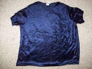 Bentley Blue Short Sleeve Velvet Career Shirt Plus Size 2X 24 26