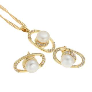 fashion wedding jewelry round cut lady set pearl pendant necklace