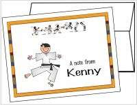 Personalized KARATE Thank you Note Cards Stationery