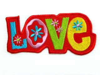 RED LOVE WORD FLOWER HOT IRON ON PATCH EMBROIDERED I200