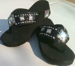 Black Diamond Cut Crystal Jewel Western Rhinestone Flip Flop Sandals