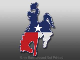 Cowboy Shaped Texas Flag Sticker  horse stickers rodeo