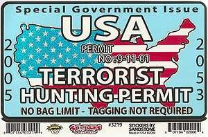 Bumper Sticker / Window Decal   U.S.A. TERRORIST HUNTING PERMIT