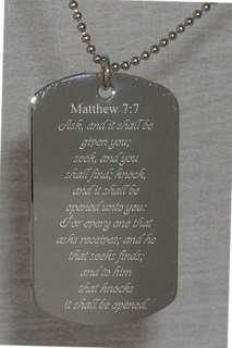 Matthew Bible Verse Text Engraved Dog Tag Gospel