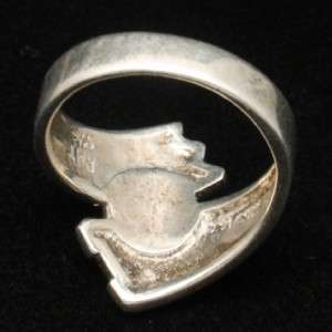 Sterling Silver Southwestern Motif Ring with Opal Hallmarked Vintage