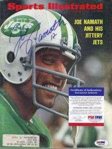 JOE NAMATH SIGNED SPORTS ILLUSTRATED PSA NEW YORK JETS