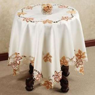Embroidery Cutwork Autumn Maple Leaf Ivory Tablecloth 36 54 Square