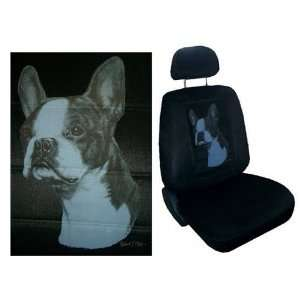 Car Truck SUV Boston Terrier Dog Print Seat Covers 2 Black