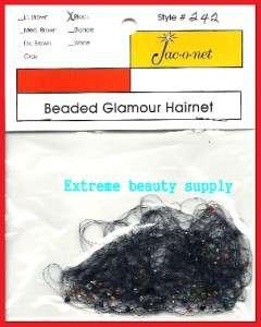 Jac O Net clear blue beaded glamour thin hair net black