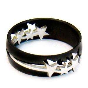 b9141 Sz 11 Mens Black Star Cut Stainless 316L Steel Fashion Jewelry