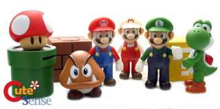 Super Mario Bro Figure w/Coin Bank 9pcYoshi Toad Luigi