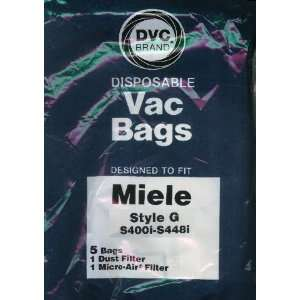 DVC Brand Type G Paper Bag 5 Pack & 2 Filters to fit Miele